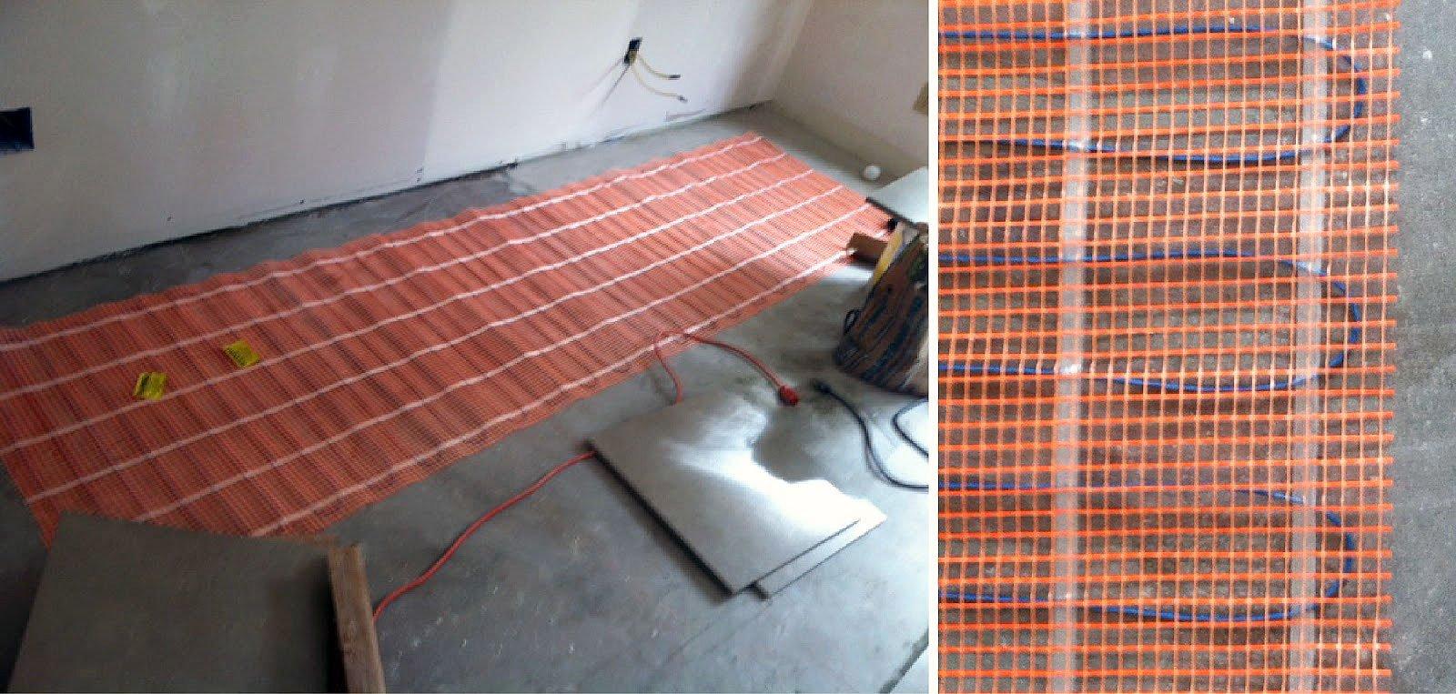 схема монтажа греющего кабеля теплого пола