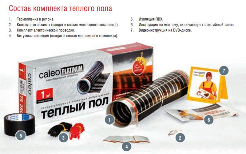 Стандартная комплектация системы пленочного теплого пола