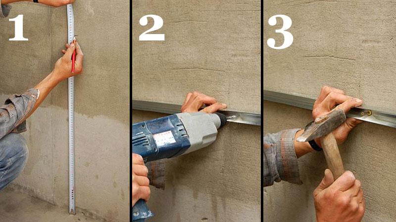 Этапы крепления профиля на стену