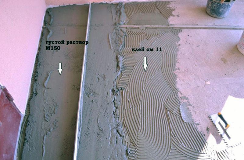 Клей Церезит М 11 и цементно-песчаный раствор М150
