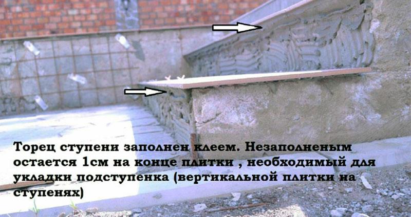 Керамогранит полностью лежит на клее, за исключением 1 см свеса для укладки подступенка