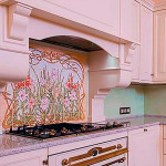 Панно из плитки для кухни с цветами