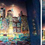 Нью-Йорк из мозаики в ванной