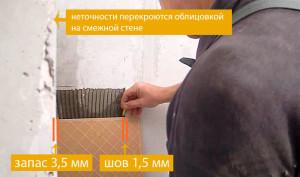 Подрезка плитки в углу