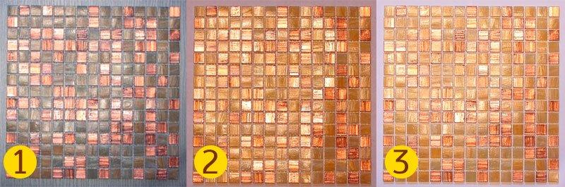 1 — серый цементный клей, 2 — белый цементный клей, 3 — белая эпоксидная затирка.