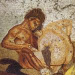 «Сатир и нимфа», мозаика в доме Фавна в Помпеях. Opus vermiculatum.