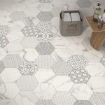 Необычная плитка 120х120 см под мрамор. Коллекция Infinity Marbletech Hexagon от Fondovalle (Италия).
