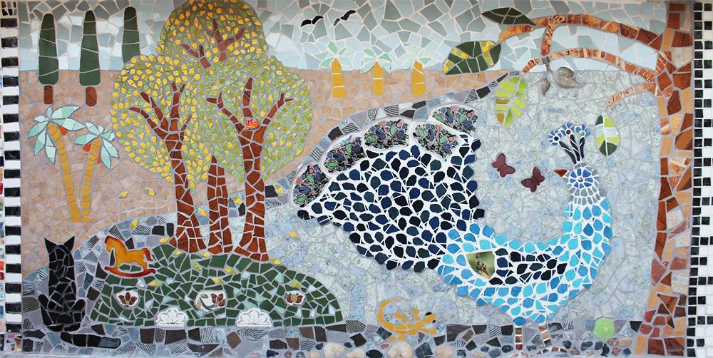 Как сделать мозаику из битых плиток 150