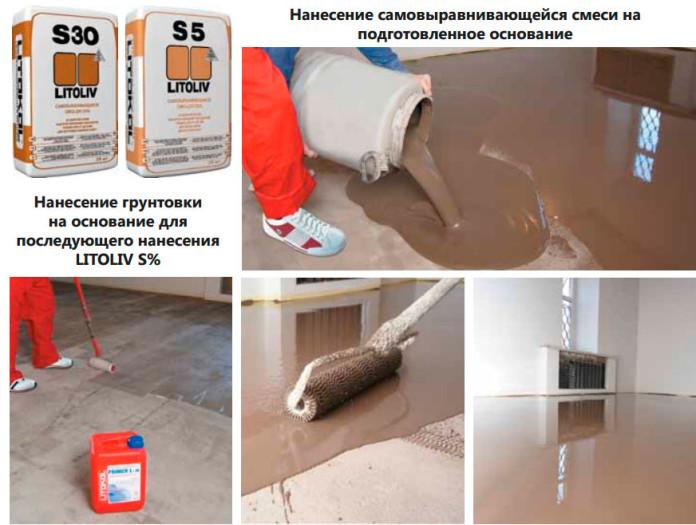 Подготовка основания перед облицовкой: грунтовка и нанесение наливного пола Litoliv.