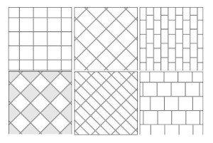 Самые популярные варианты раскладки плитки на пол: шов в шов, по диагонали и со смещением.