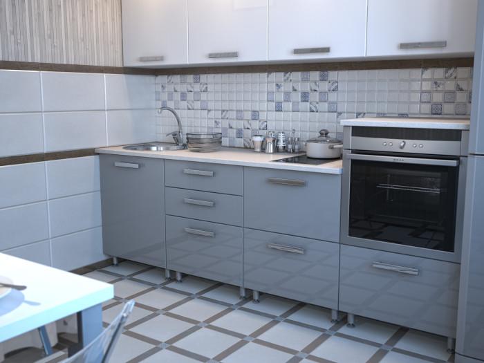 Майолика подходит даже для кухни в современном дизайне. Одна из стен облицована крупным кафелем.