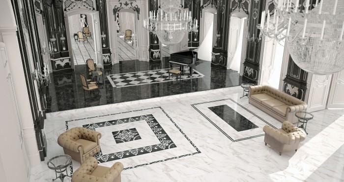Шикарный интерьер с использованием чёрного и белого керамогранита под мрамор. Коллекция LUXURY (PERONDA MUSEUM, Испания).