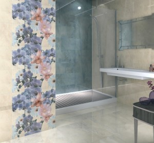 Полированный керамогранит Керама Марацци Малабар (Россия) в ванной комнате.