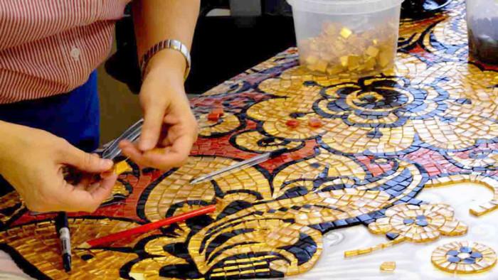 Создание панно «Хохлома» из стеклянной мозаики TAURUS и SAGITTA.